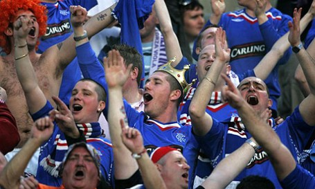 Rangers fans singing the controversial Famine Song at an SPL match