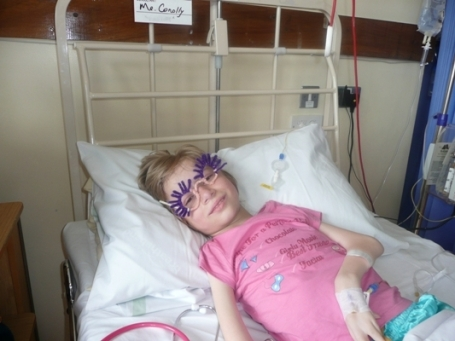 Kristina who comes from an orphanage (Vesnova) in Belarus recovering after surgery in Cappagh Hospital in Dublin in June 09